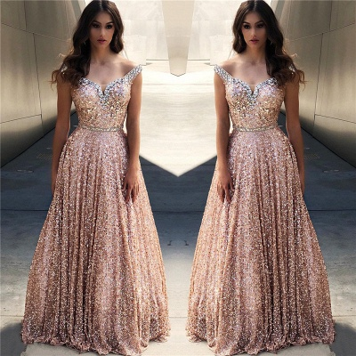 Rose Shining Gold Shining Sequins Evening Dresses Online |Cheap Off The Shoulder Flirty Bling-bling prom dress Sale|  New Styles_2