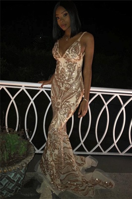 Flirty V-Neck Spaghetti Straps Sleeveless Shining Gold Appliques Mermaid Exclusive Prom Dresses UK | New Styles_3