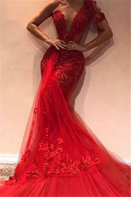 Gorgeous Mermaid One Shoulder Tulle Appliques Exclusive Prom Dresses UK   New Styles_1