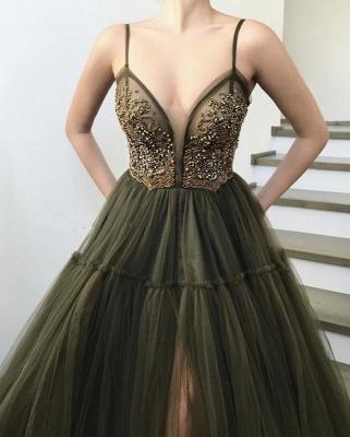 Elegant Side Slit Spaghetti Straps Tulle Evening Dresses Online   New Styles_4