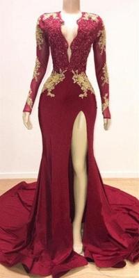 Sexy Low Cut Long Sleeves Lace Appliques Split Trumpet Evening Gowns | Suzhou UK Online Shop_3