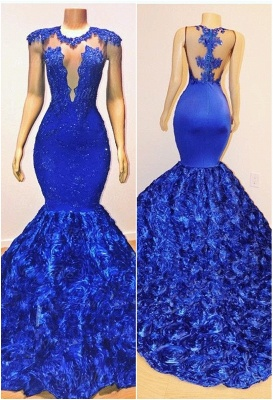 Royal-Blue Flowers Trumpet Long Evening Gowns | Amazing Summer Sleeveless With lace Appliques Prom Dresses | Suzhou UK Online Shop