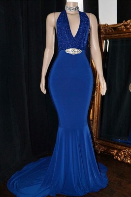 Sexy Halter Summer Sleeveless Trumpet Prom Dresses | Sexy Low Cut Appliques Crystal Evening Gowns | Suzhou UK Online Shop_1