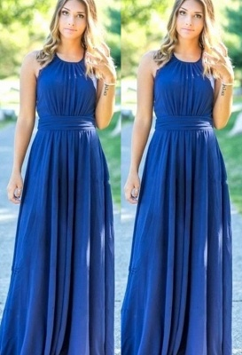 Ocean Blue Halter Chiffon  Bridesmaid Dresses Open Back On Sale_1