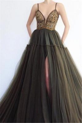 Elegant Side Slit Spaghetti Straps Tulle Evening Dresses Online   New Styles_1