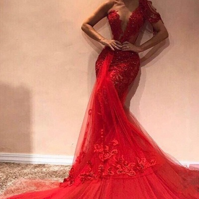 Gorgeous Mermaid One Shoulder Tulle Appliques Exclusive Prom Dresses UK   New Styles_2