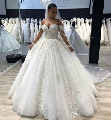 Affordable Tulle Sweetheart Long Sleeves Long Wedding Dress | Bridal Gowns Online_2