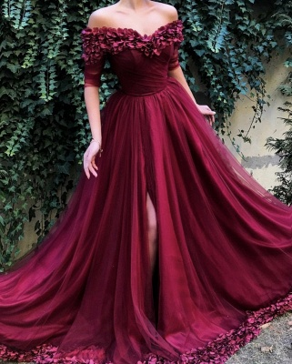 Burgundy fitted Fitted Off The Shoulder Tulle Flower Applique Exclusive Prom Dresses UK   New Styles_2