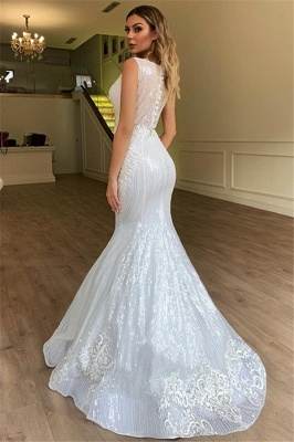 Glamorous Mermaid Sheer Straps Tulle Wedding Dress Sleeveless Appliques | Bridal Gowns Online_2