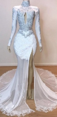 White Stunning Lace Long Sleeves Prom Dresses | Sheer Quality Tulle Slit Trumpet Evening Gowns | Suzhou UK Online Shop_2