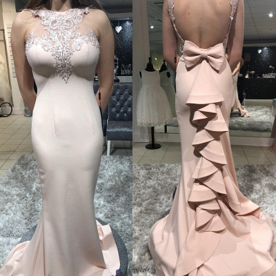 Gorgeous Sheath Sheer Straps Bowknot Ruffles Mermaid Prom Dersses | New Styles_2