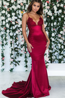 Wine Red Summer Sleeveless Trumpet Trendy Backless Prom Dresses | Cheap Spaghetti-Straps Lace Appliques Evening Gowns | Suzhou UK Online Shop_2