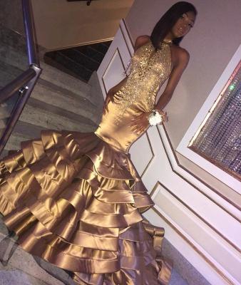 Beautiful Shining Gold Mermaid High Neck Sleeveless Ruffles Rinestone Exclusive Prom Dresses UK   New Styles_2