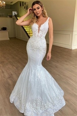 Glamorous Mermaid Sheer Straps Tulle Wedding Dress Sleeveless Appliques | Bridal Gowns Online_1