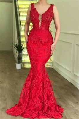 Flirty Ruby Mermaid Sleeveless Lace Appliques Evenging Dresses | New Styles_2