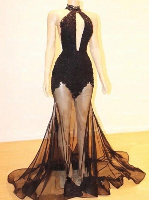 Flirty Halter See Through Prom Dress Mermaid With Lace Online_4