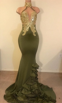 New Arrival High Neck Ruffles Prom Dresses UK Long Sequins Evening Party Gowns_1