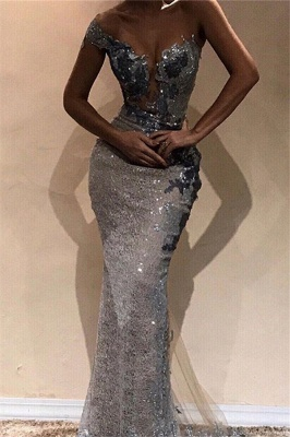 Beautiful Sheath One-Shoulder Silver Shining Sequins Exclusive Prom Dresses UK | New Styles_1