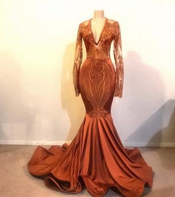 Beautiful Mermaid V-neck Sleeved Prom Dresses Long Formal Wears_2