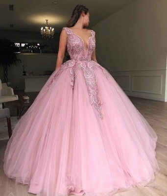 Elegant V-Neck Pink Prom Dress UK With Lace Applique Online_2