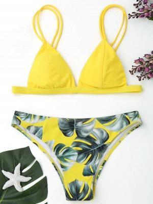 Modern Women Triangle Floral Print Bikini Set_16