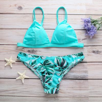 Modern Women Triangle Floral Print Bikini Set_8