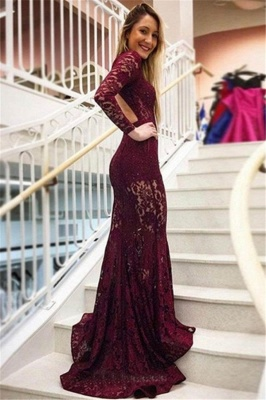 Gorgeous Mermaid High Neck Sleeved Lace Exclusive Prom Dresses UK | New Styles_2