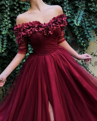 Burgundy fitted Fitted Off The Shoulder Tulle Flower Applique Exclusive Prom Dresses UK   New Styles_3