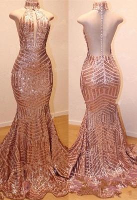 Shiny High Neck Summer Sleeveless Sequins Trumpet Prom Dresses | Suzhou UK Online Shop_4