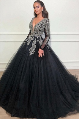 Unique Black Puffy Deep V-Neck Sleeved Appliques Overskirt Evening Dresses Online | New Styles_1
