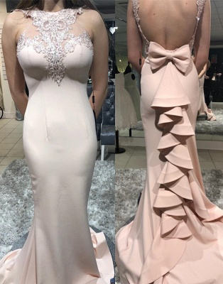 Gorgeous Sheath Sheer Straps Bowknot Ruffles Mermaid Prom Dersses | New Styles_1
