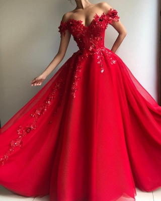 Beautiful Puffy Off The Shoulder Applique Flowers Evening Dresses Online | New Styles_2