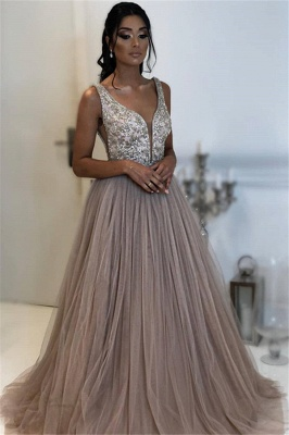 Elegant Fitted Sleeveless Applique Tulle Evening Dresses Online | New Styles_1