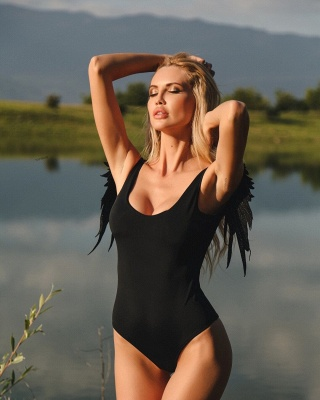 Modern Women One-piece Swimsuit Solid High Cut Swimwear | Wing Bathing Suit_12