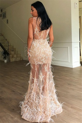 Gorgeous Fitted Sleeveless Sheer Tulle Feather Exclusive Prom Dresses UK | New Styles_2