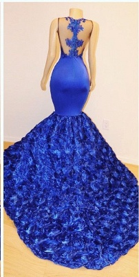 Royal-Blue Flowers Trumpet Long Evening Gowns | Amazing Summer Sleeveless With lace Appliques Prom Dresses | Suzhou UK Online Shop_3