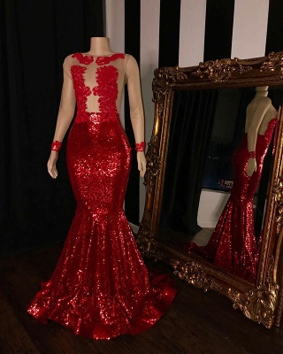 Long Sleeves Sequins Trumpet Prom Gowns | Amazing Sheer Quality Tulle Red Long Evening Dress | Suzhou UK Online Shop_2