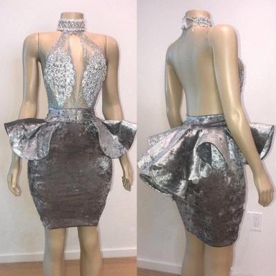 Halter Keyhole Neckline Appliqued Short Prom Dresses | Suzhou UK Online Shop_3