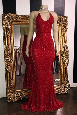 Sexy Sequins Summer Sleeveless Trumpet Prom Dresses | Glitter Halter Red Evening Gowns | Suzhou UK Online Shop_1
