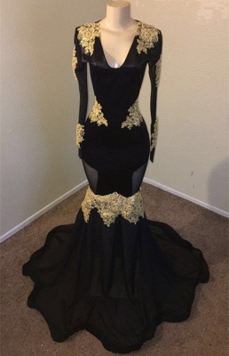 Unique Black Mermaid Prom Dress Long V-neck Evening Gowns With Sequins_2