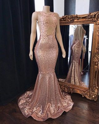 Pink Sequins Appliques Trumpet Prom Dresses | Summer Sleeveless Sheer Quality Tulle Evening Gowns | Suzhou UK Online Shop_2