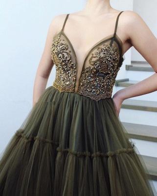 Elegant Side Slit Spaghetti Straps Tulle Evening Dresses Online   New Styles_2