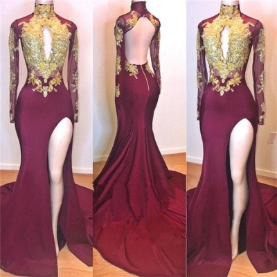 Wine Red Gold Appliques Evening Gowns | Long Sleeves Side Slit Open Back Trumpet Prom Dresses | Suzhou UK Online Shop_2