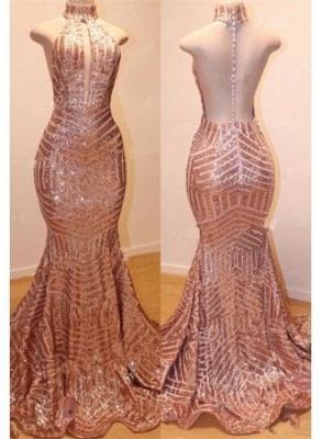 Shiny High Neck Summer Sleeveless Sequins Trumpet Prom Dresses | Suzhou UK Online Shop_3