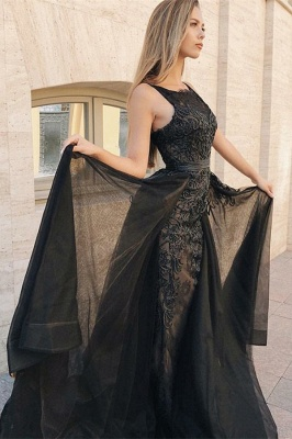 Sexy Trumpet Summer Sleeveless Evening Gowns | Black Appliques Lace Overskirt Prom Dresses | Suzhou UK Online Shop_2