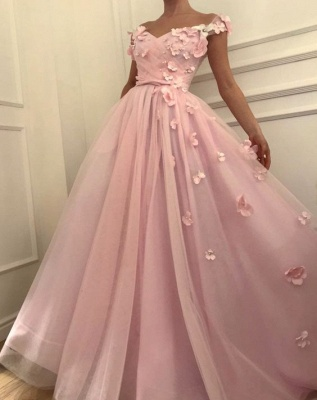 Pink Flowers Princess A-line Quality Tulle Long Cheap Prom Dress | Elegant Off-the-Shoulder Evening Gowns | Suzhou UK Online Shop_4