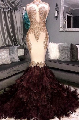 Gorgeous Mermaid High Neck Sleeveless Fur Appliques Exclusive Prom Dresses UK | New Styles_1