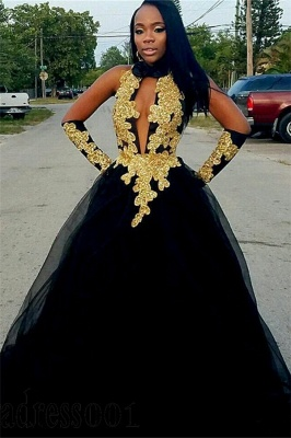 Chic Gold Appliques Ball Gown Prom Dresses | Elegant Black Halter Quality Tulle Evening Gowns | Suzhou UK Online Shop_1