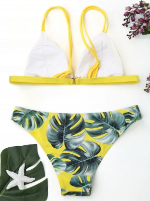 Modern Women Triangle Floral Print Bikini Set_10
