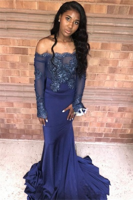 Navy Blue Appliques Long Summer Sleeveless Prom Dresses | Sexy Off The Shoulder Trumpet Evening Gowns | Suzhou UK Online Shop_3